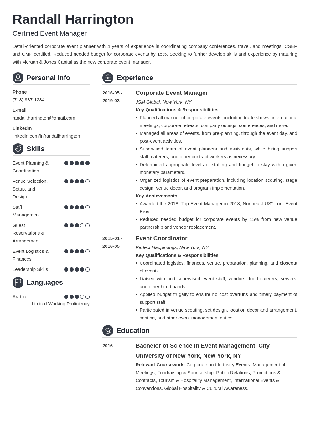 event manager resume example template crisp