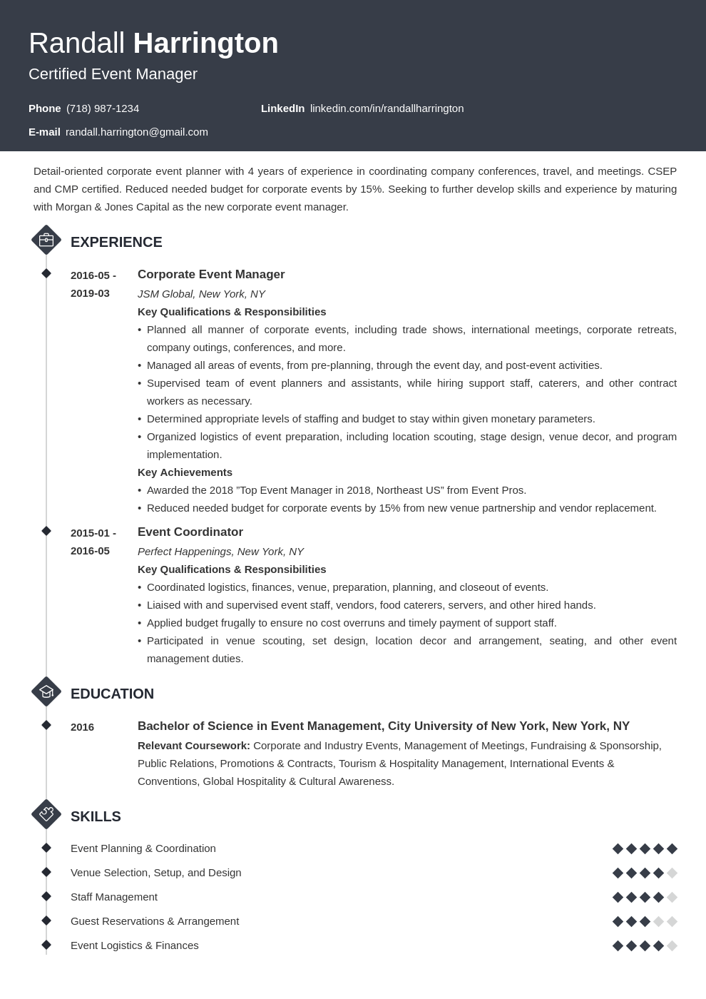 event manager resume example template diamond