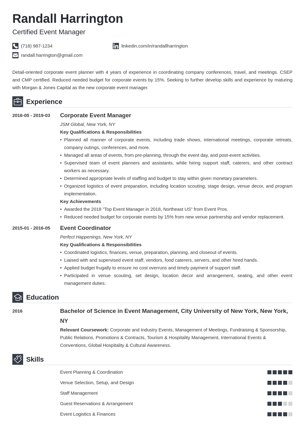 event manager resume example template iconic
