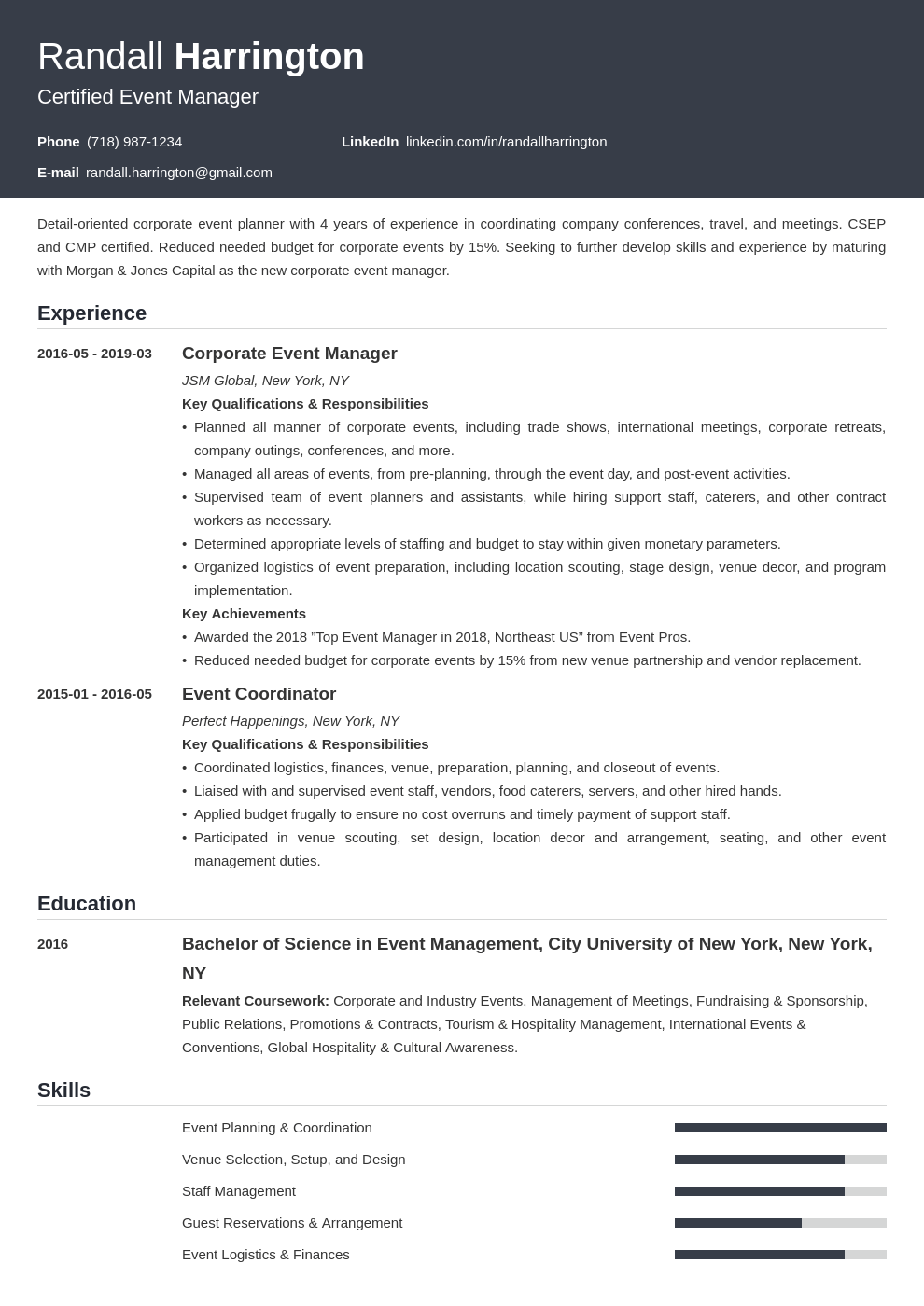 event manager resume example template influx