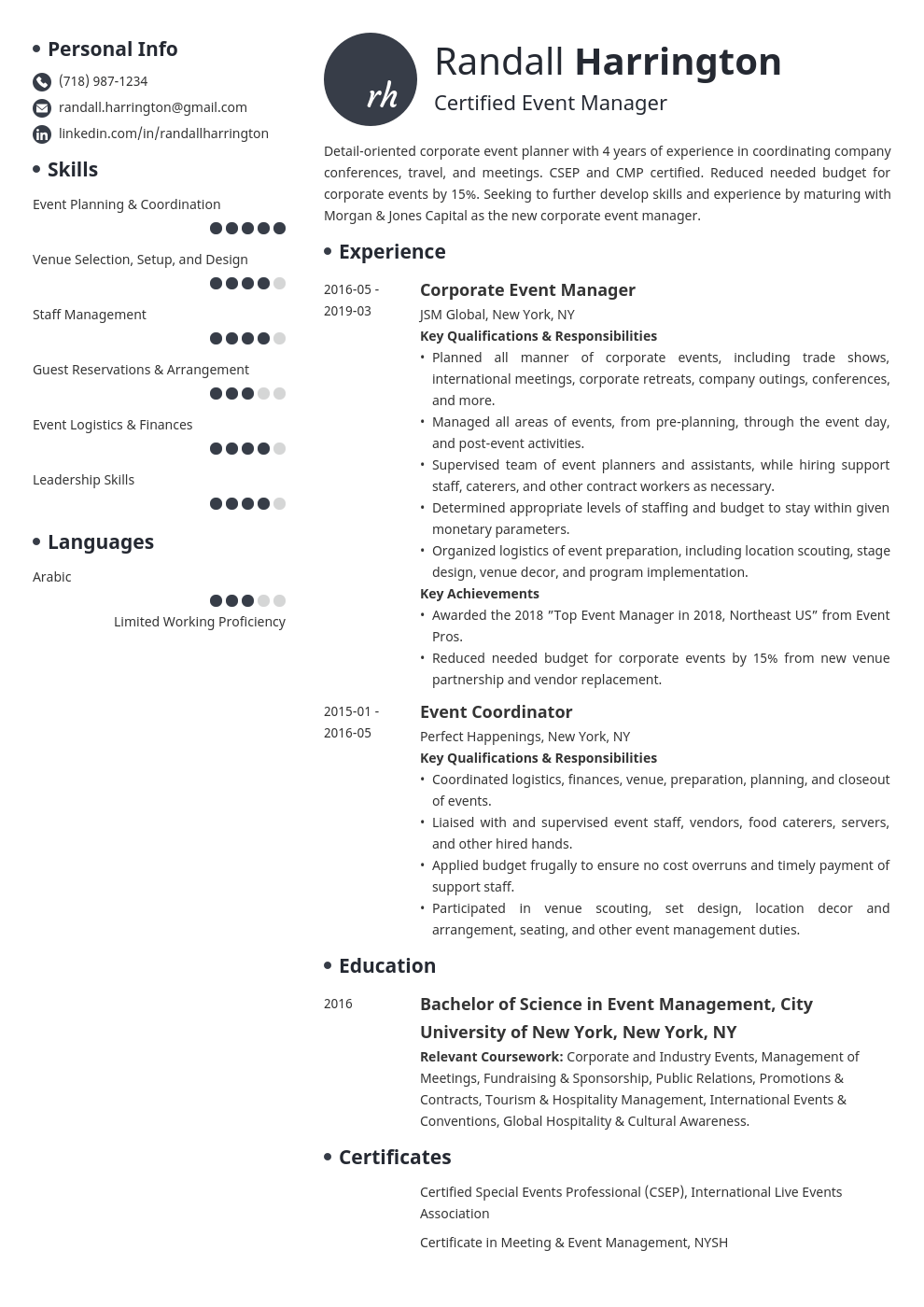 event manager resume example template initials