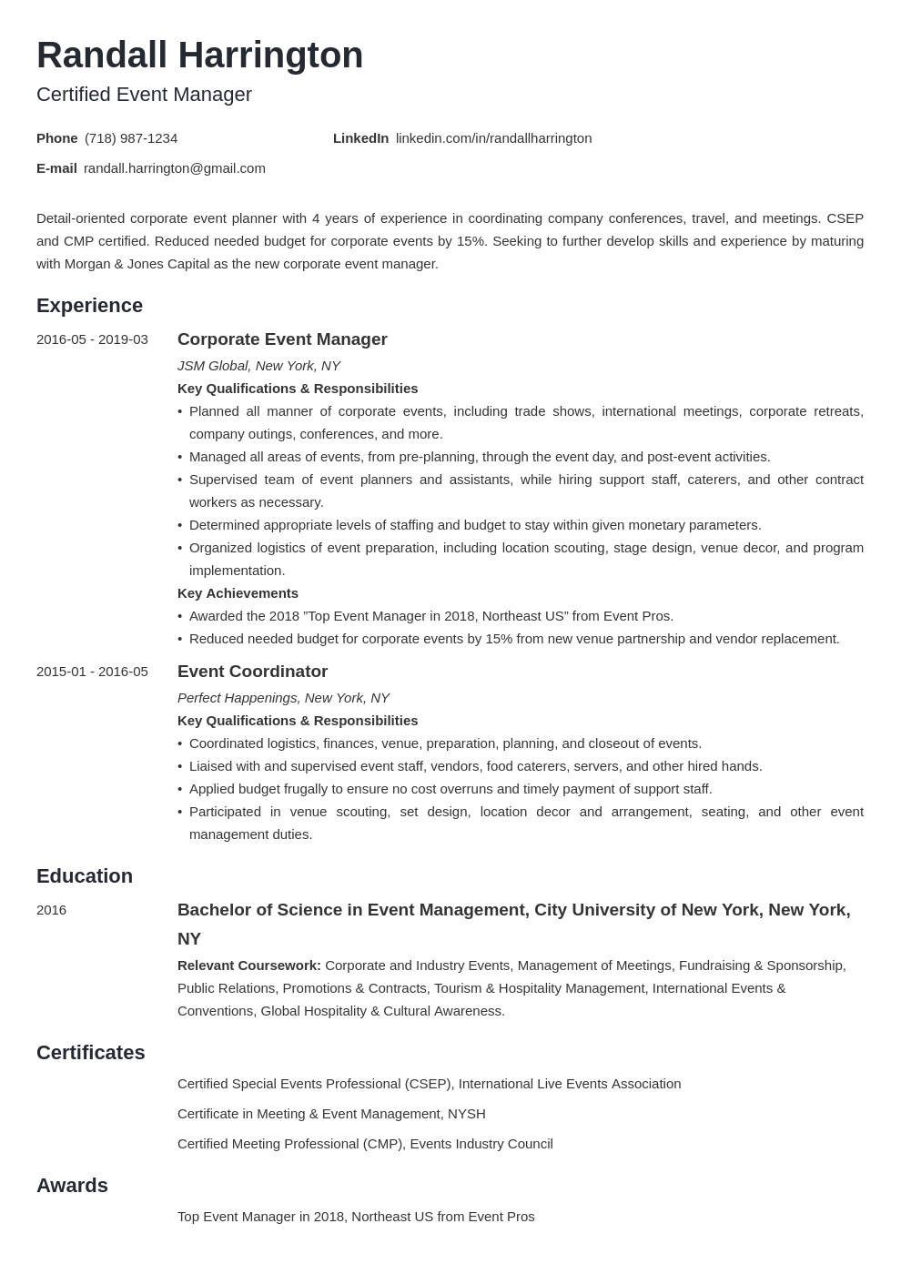 event manager resume example template minimo