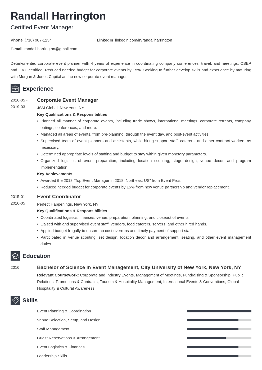 event manager resume example template newcast