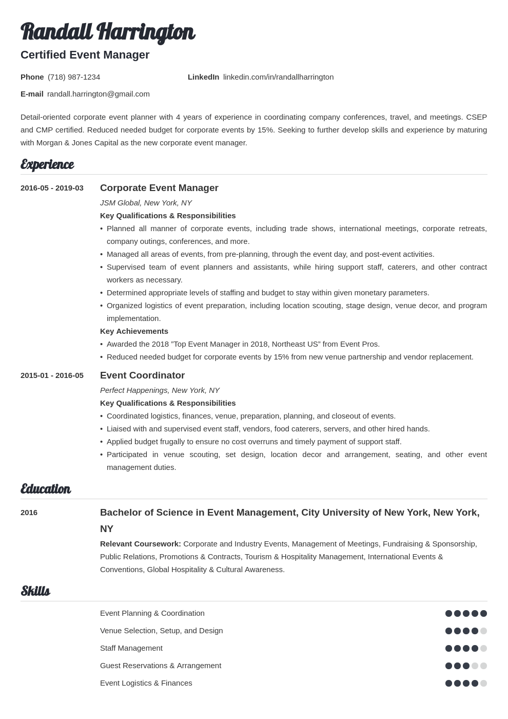 event manager resume example template valera