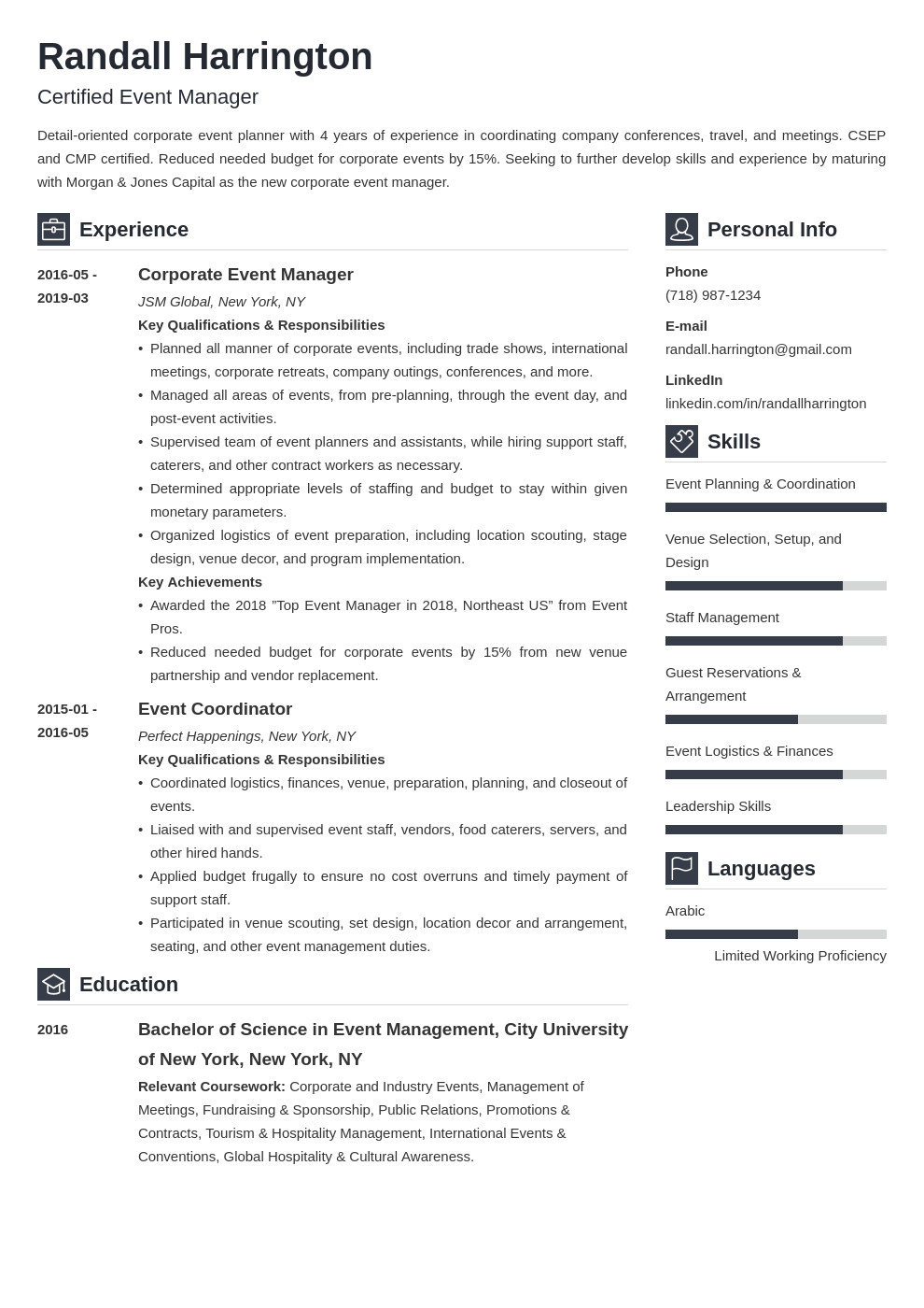 event manager resume example template vibes