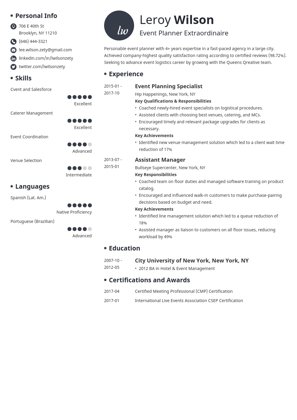 event planner resume example template initials