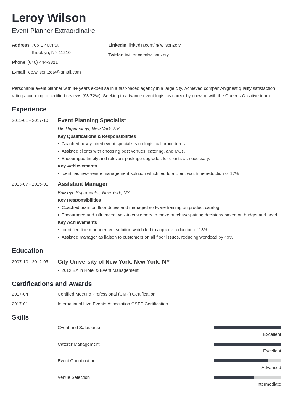 event planner resume example template minimo