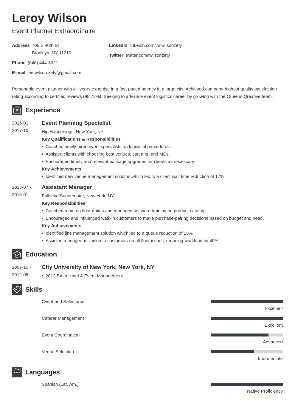 event planner resume example template newcast