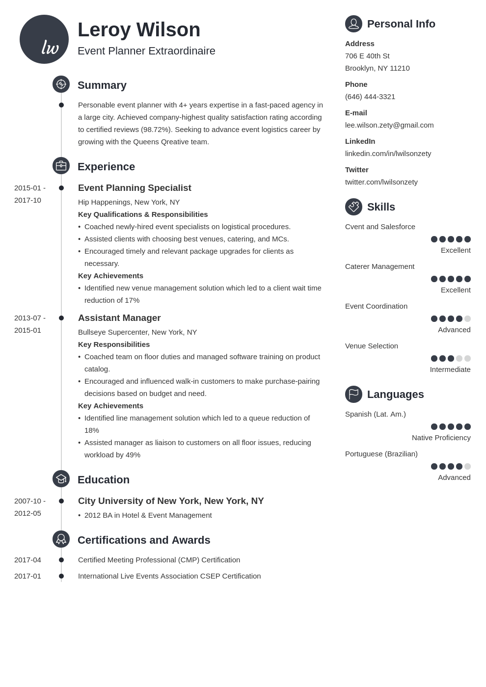 event planner resume example template primo