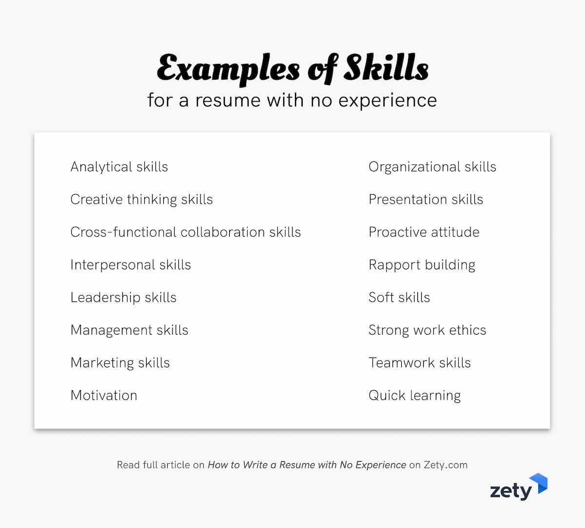 Examples of skills for a resume with no experience