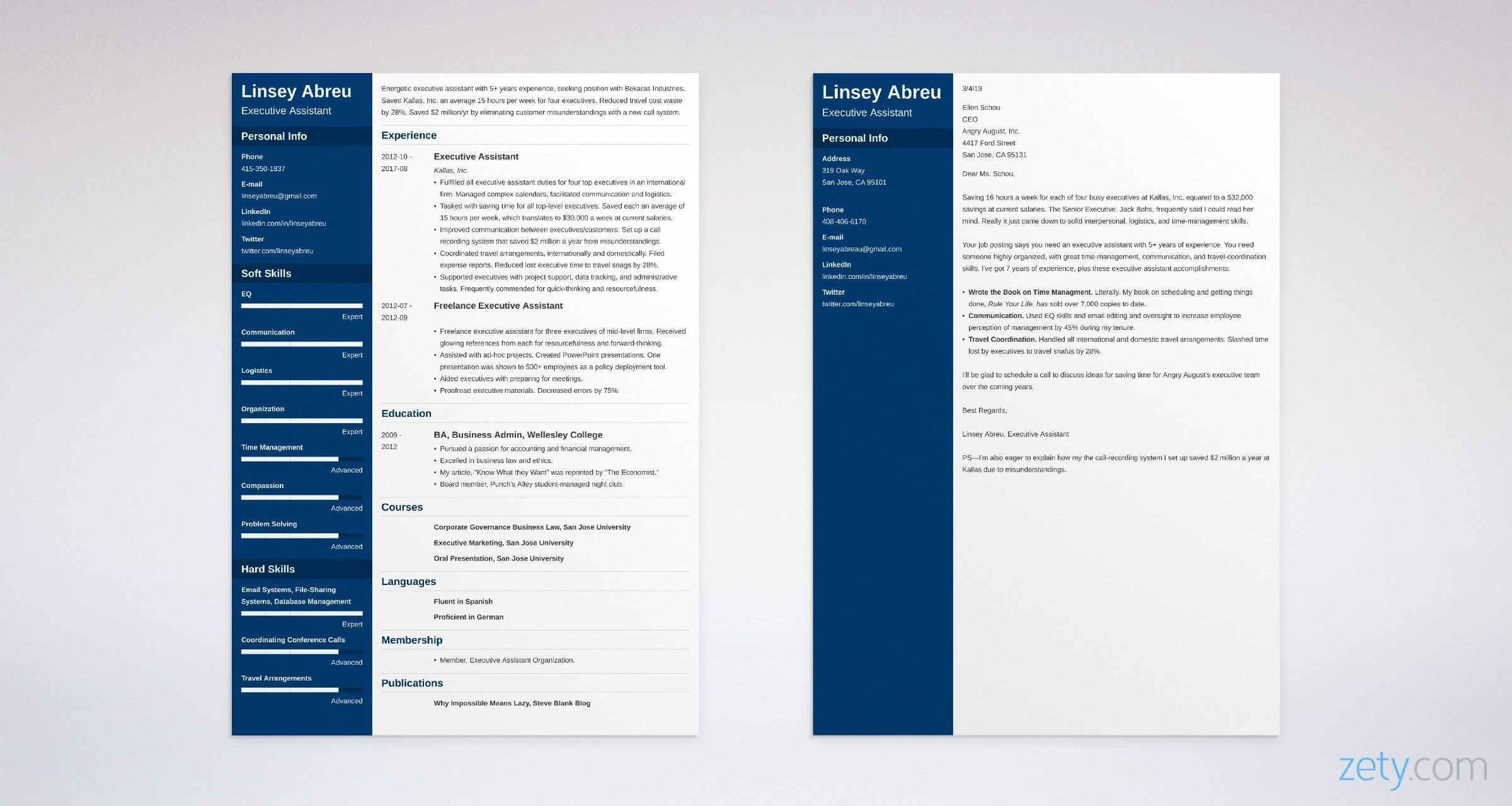 executive assistant resume and cover letter set