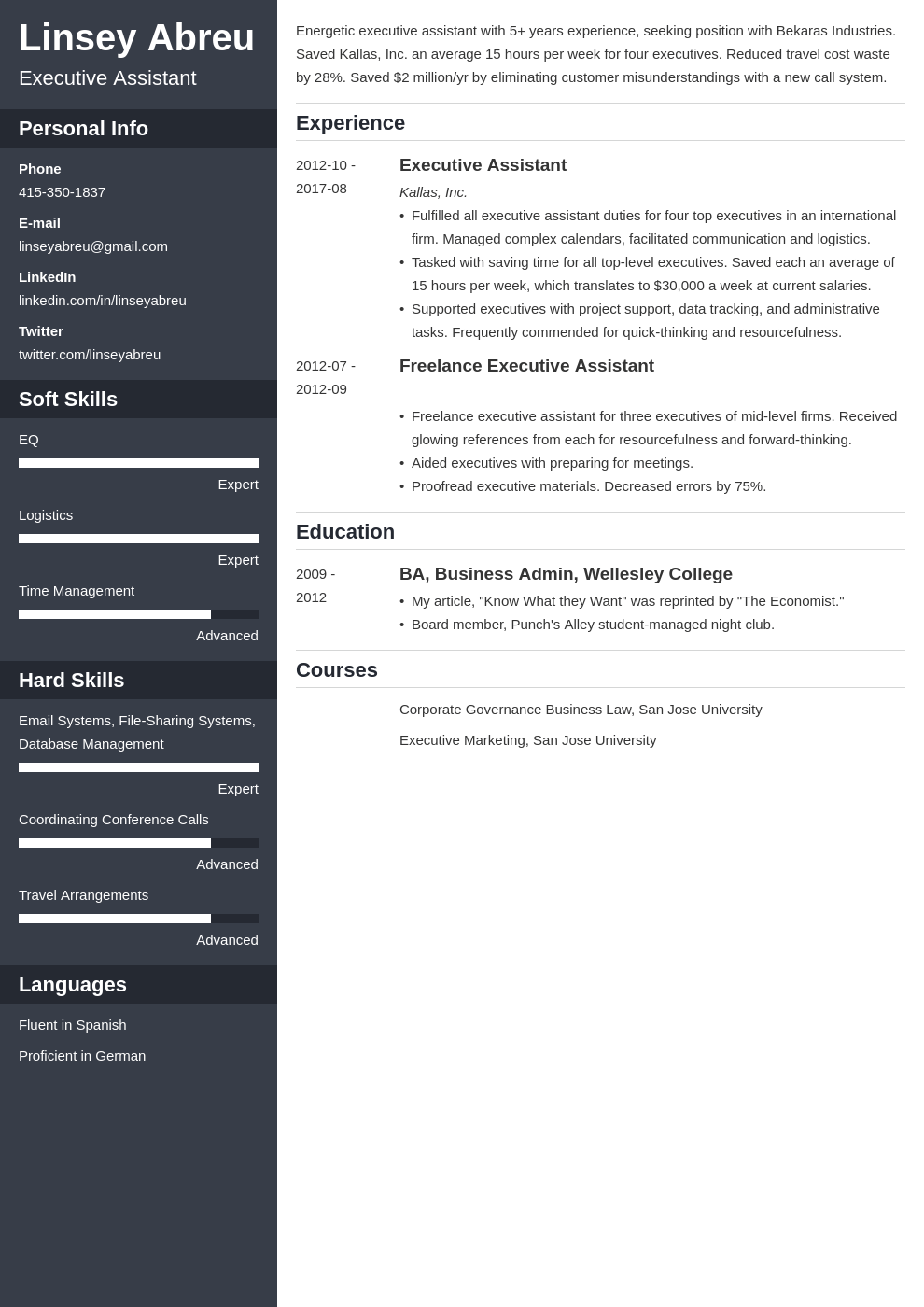 executive assistant resume examples template cascade