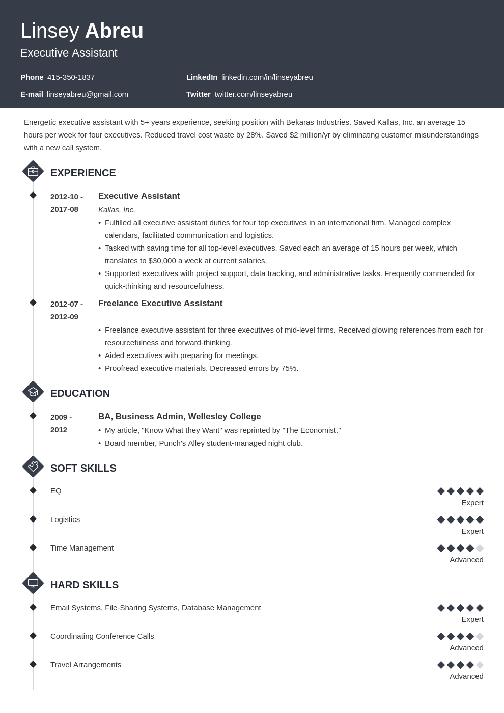 executive assistant resume examples template diamond