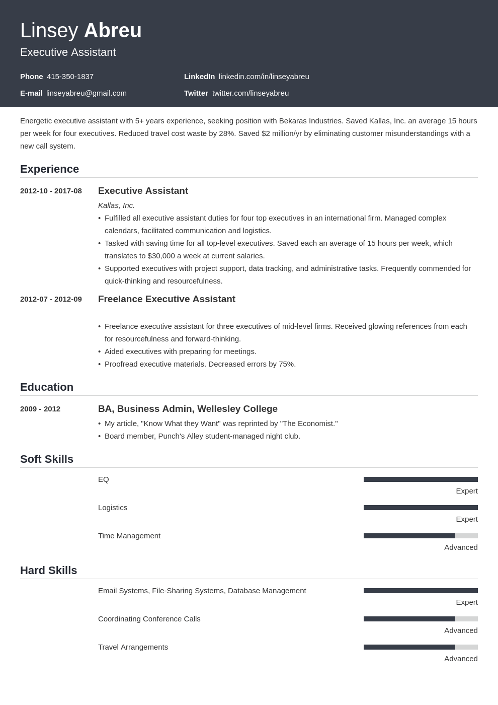 executive assistant resume examples template influx