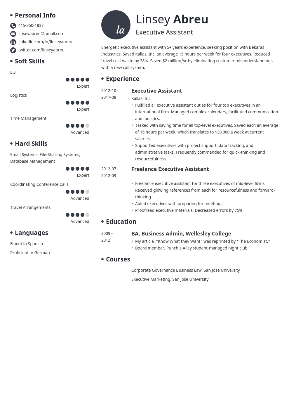 Executive Assistant Resume Sample Skills Objective