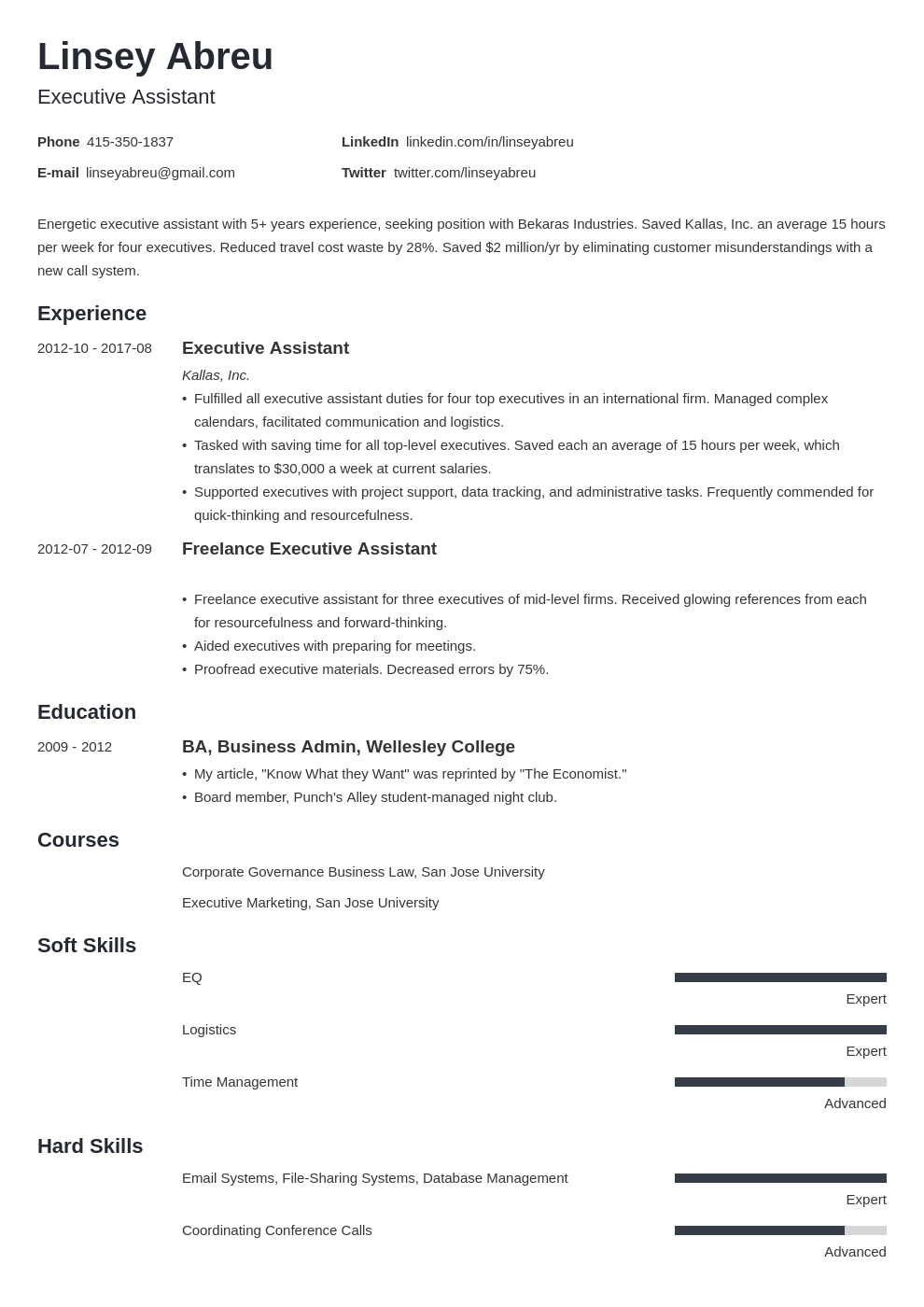 executive assistant resume examples template minimo