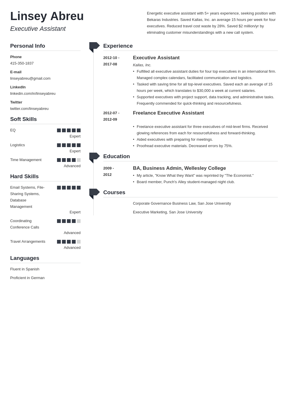 executive assistant resume examples template muse