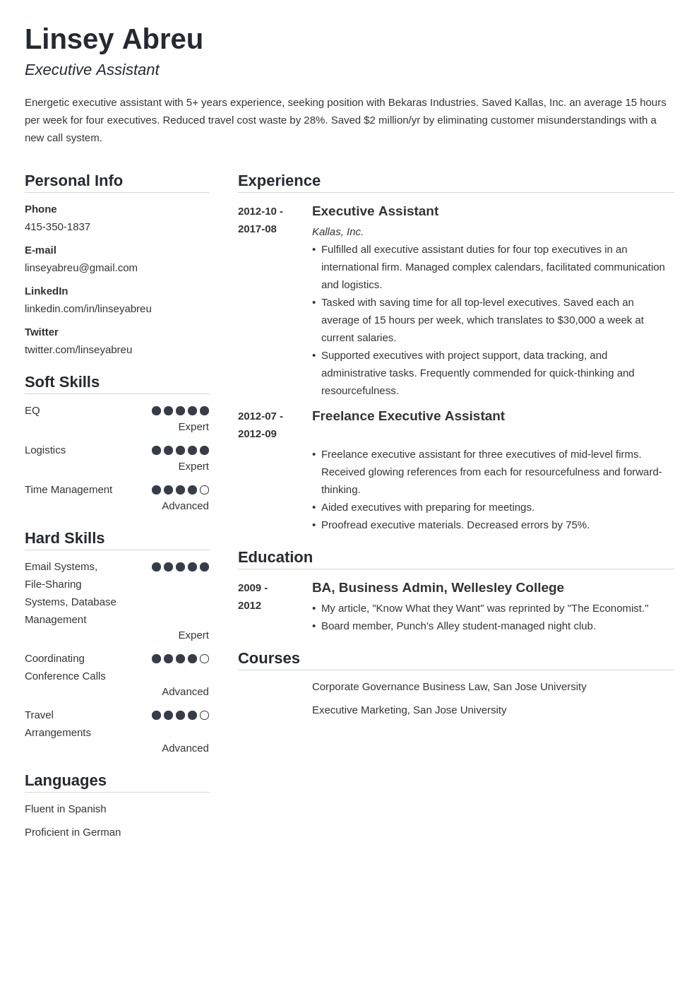 executive assistant resume examples template simple