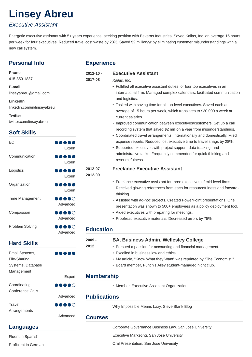 sample resume for executive assistant to senior executive.html