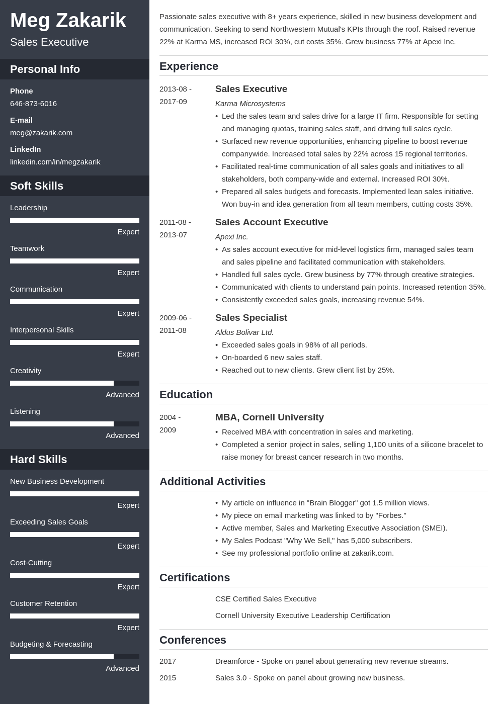 executive resume example template cascade