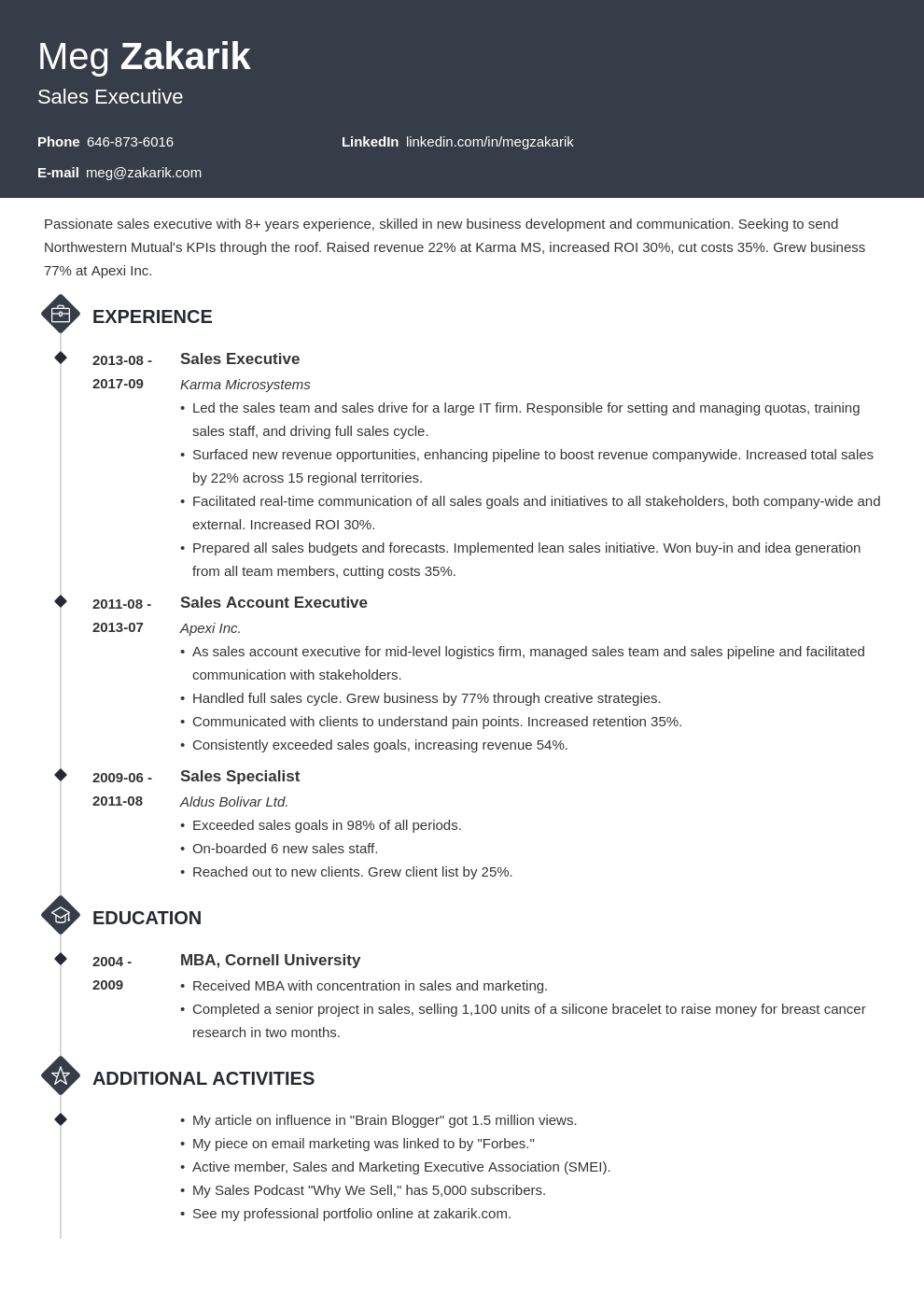 executive resume example template diamond