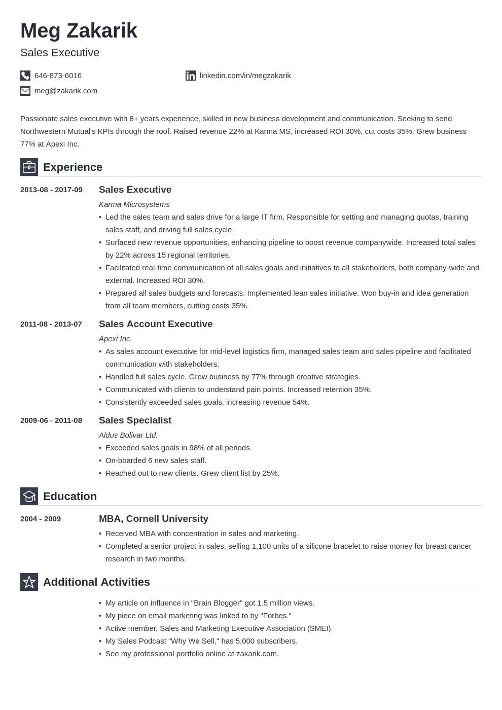 executive resume example template iconic
