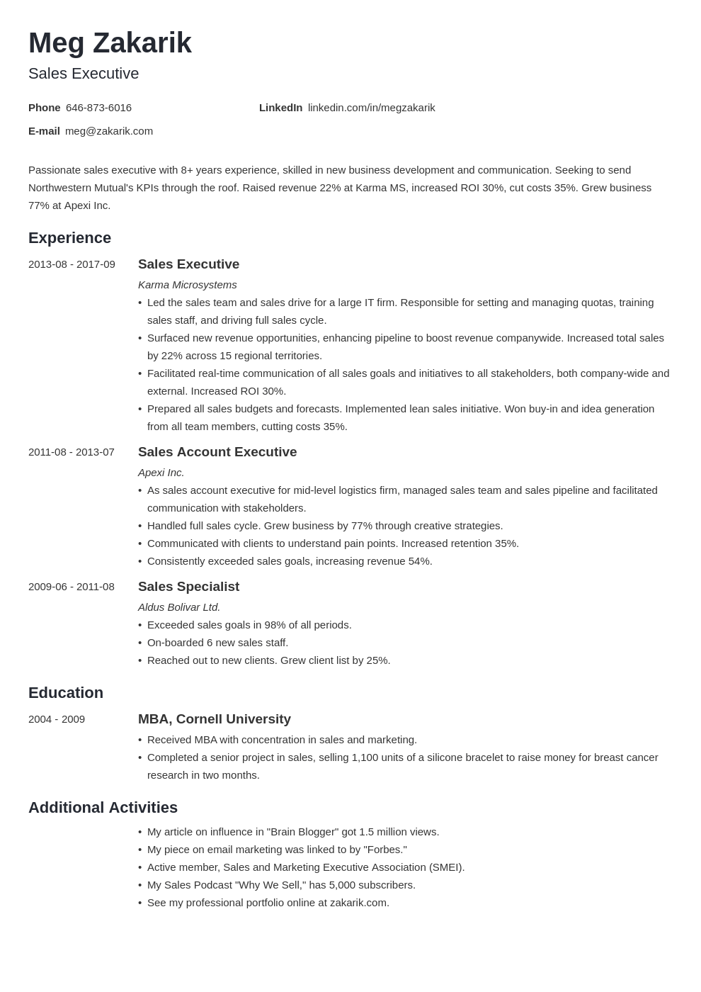executive resume example template minimo