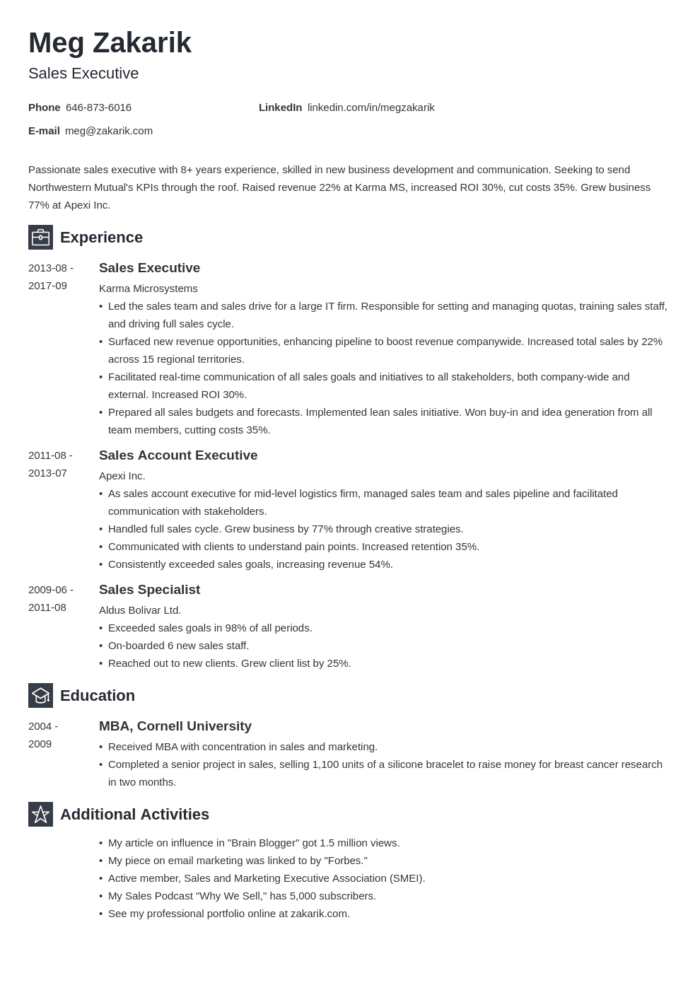 executive resume example template newcast