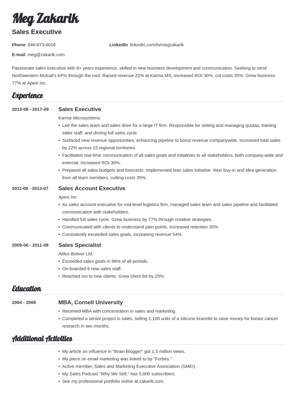 executive resume example template valera