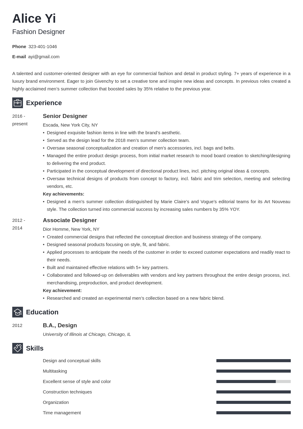 Fashion Designer Resume Examples Writing Guide 20 Tips