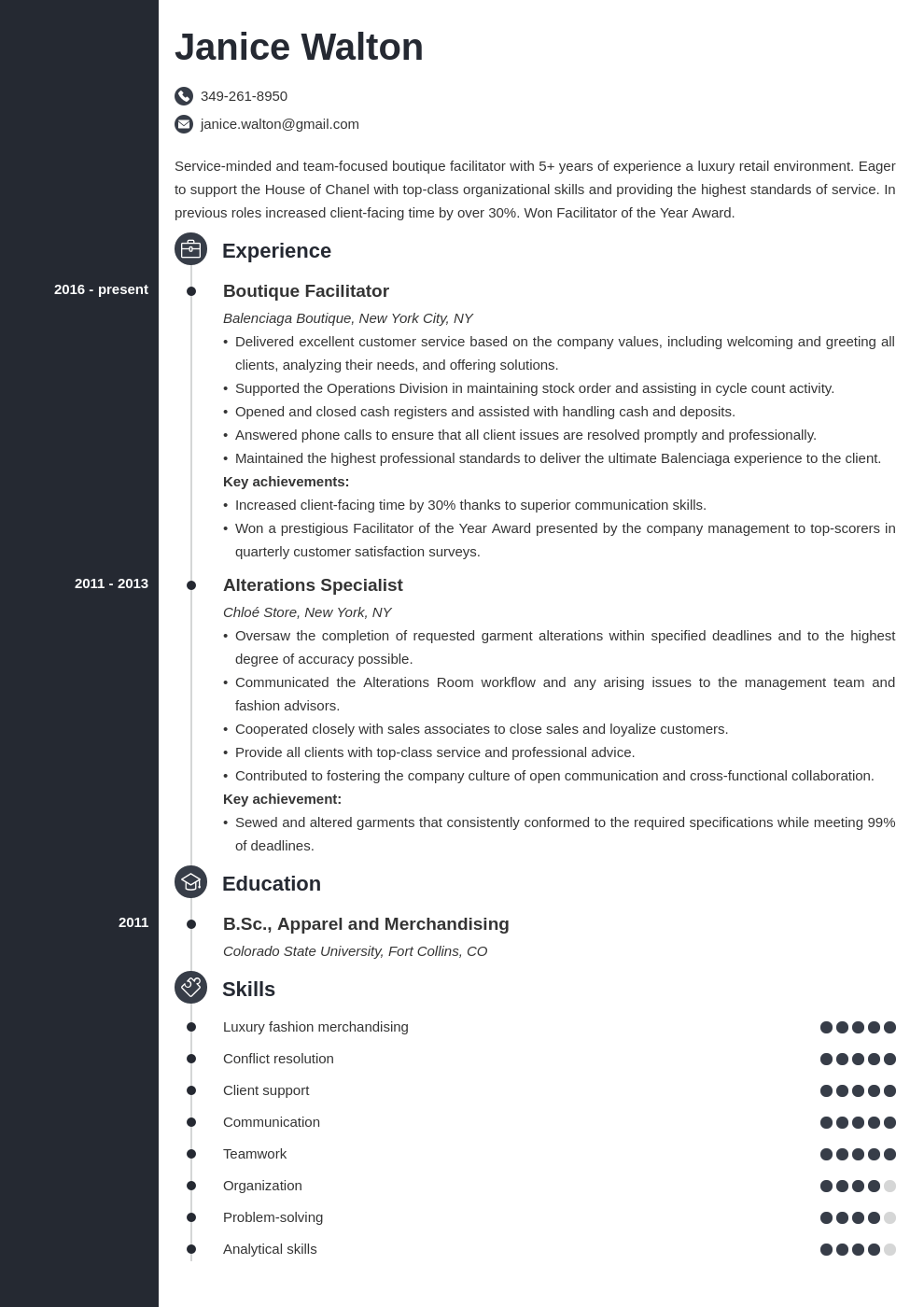 fashion resume example template concept