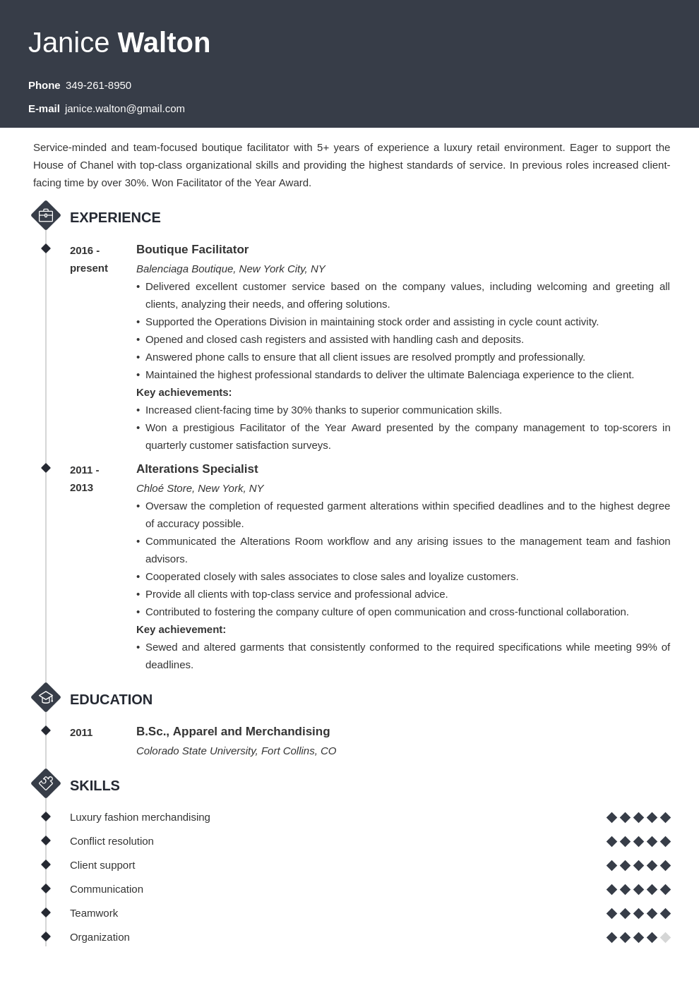 fashion resume example template diamond