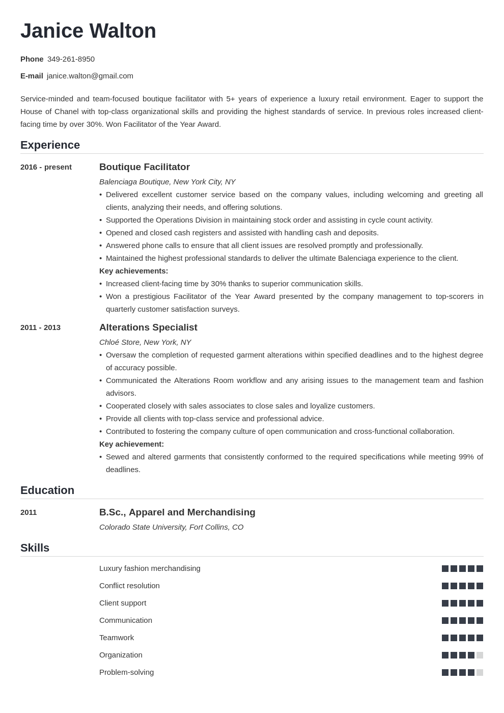 fashion resume example template nanica