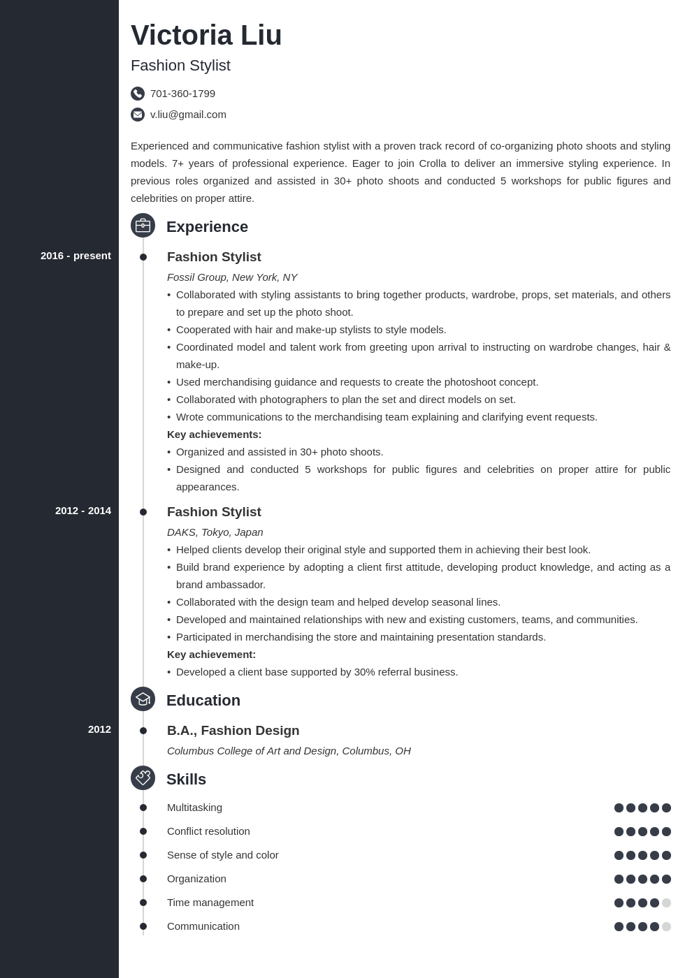 fashion stylist resume example template concept