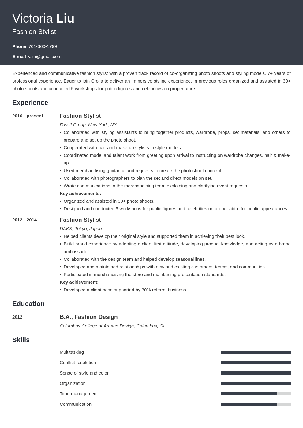 fashion stylist resume example template influx