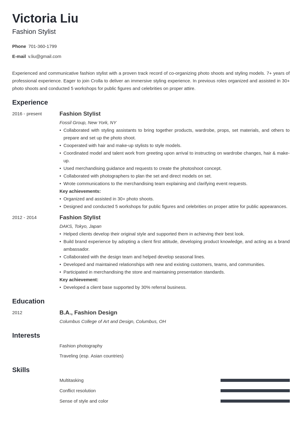 Fashion Stylist Resume Examples Writing Guide 20 Tips