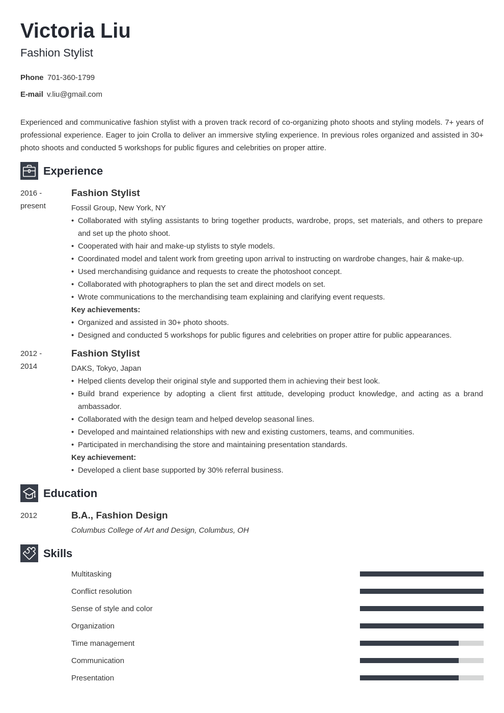 fashion stylist resume example template newcast