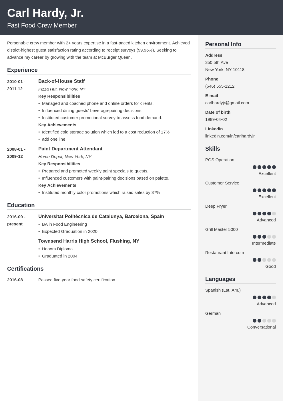fast food resume example template cubic