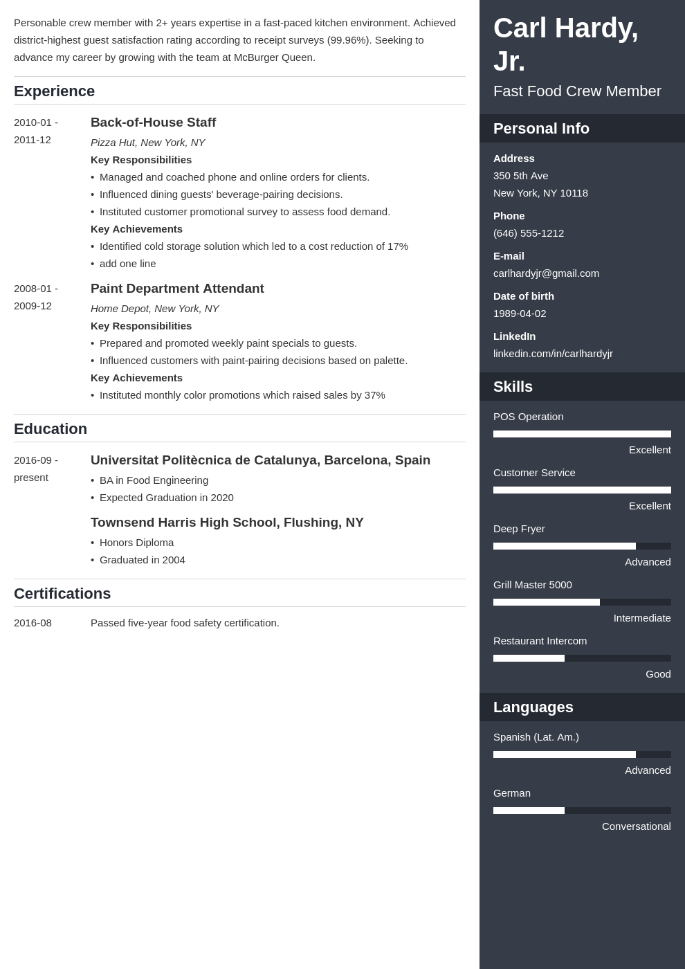 fast food resume example template enfold