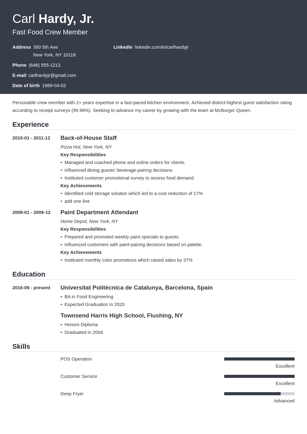 fast food resume example template influx