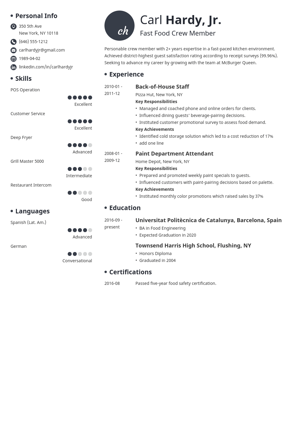 fast food resume example template initials