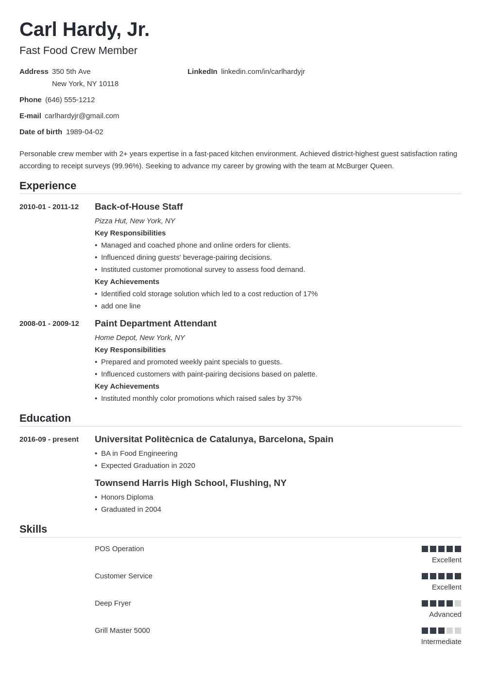 Fast Food Resume Sample Writing Guide 10 Tips