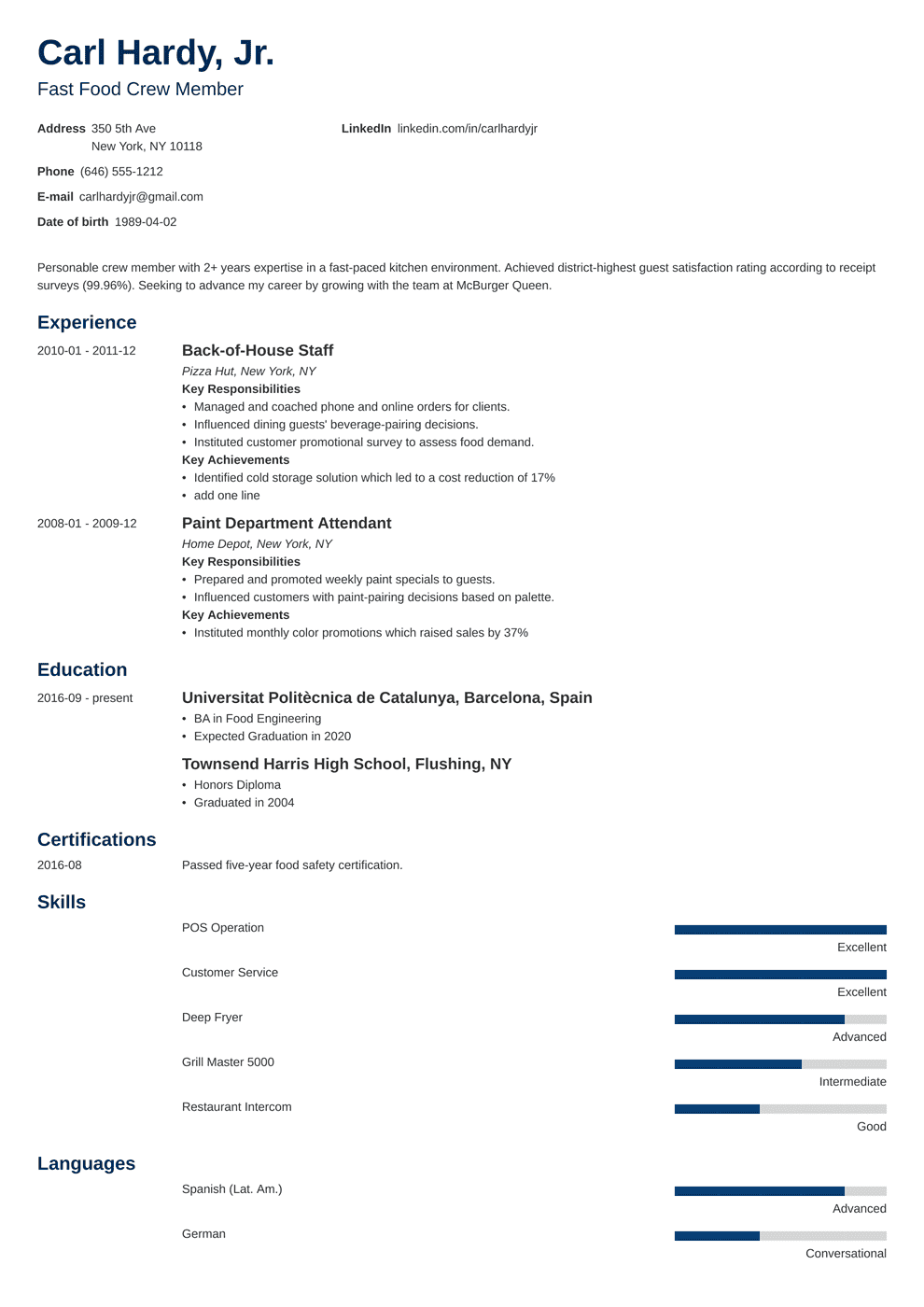 Fast Food Resume Examples (Skills, Job Description, Tips)
