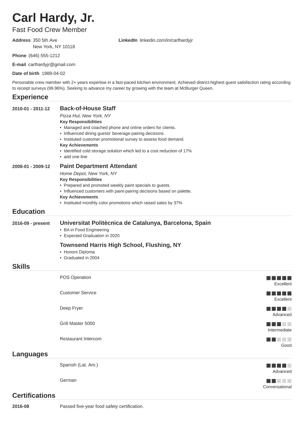 Fast Food Resume Sample Complete Guide 20 Examples