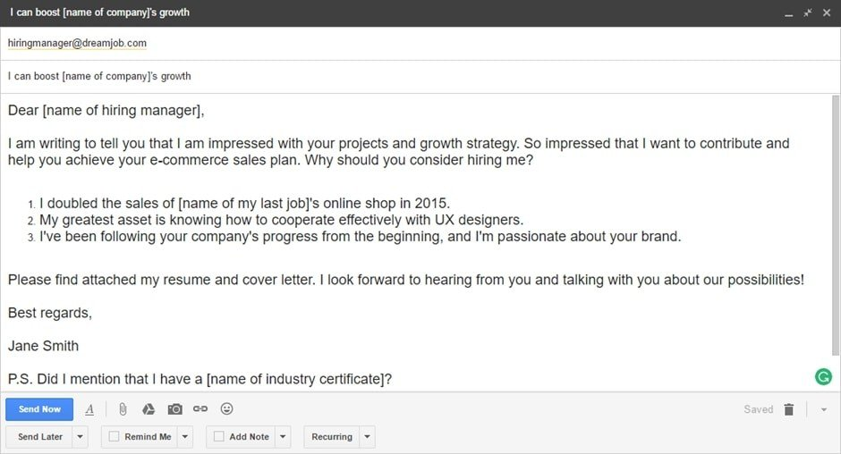 email samples for sending resumes