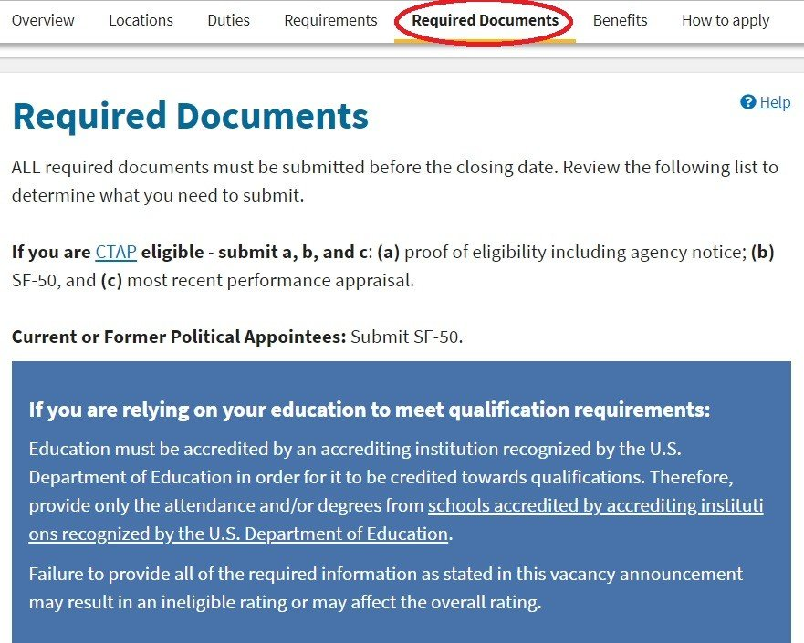 federal resume required documents