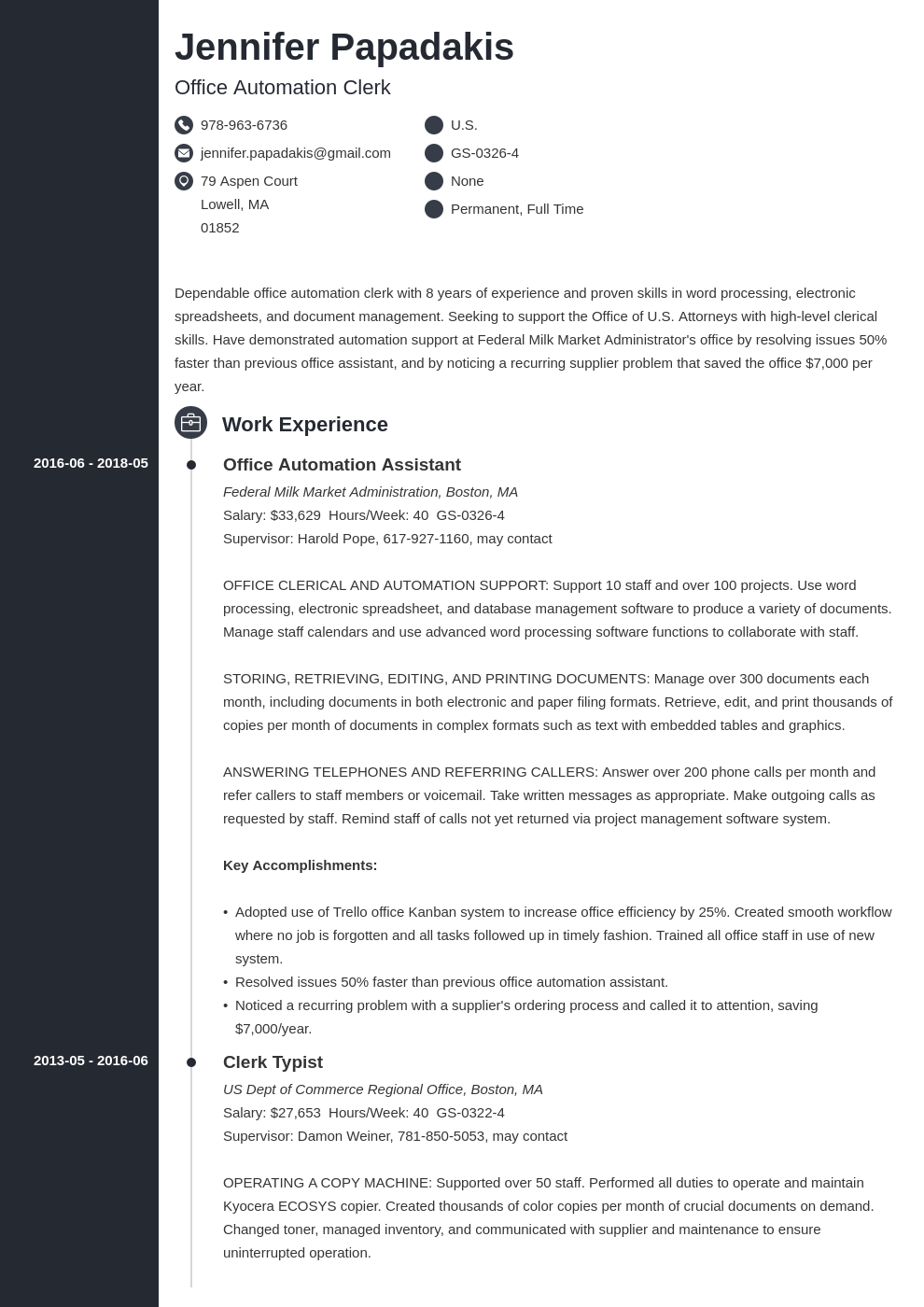 federal resume example template concept