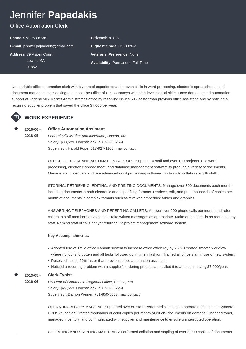 federal resume example template diamond