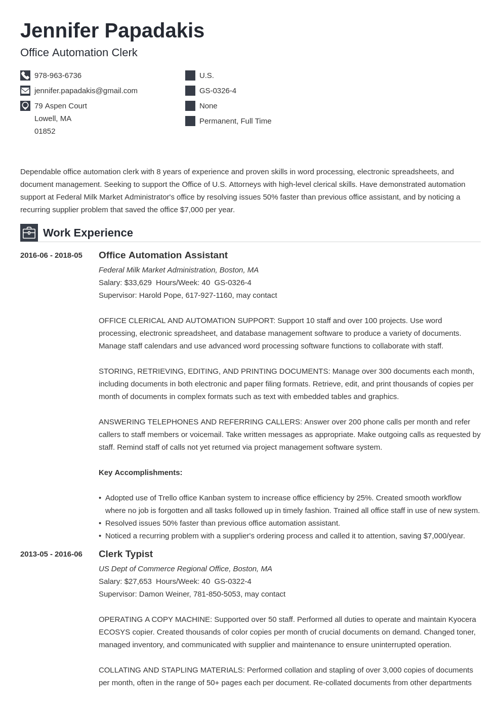 federal resume example template iconic