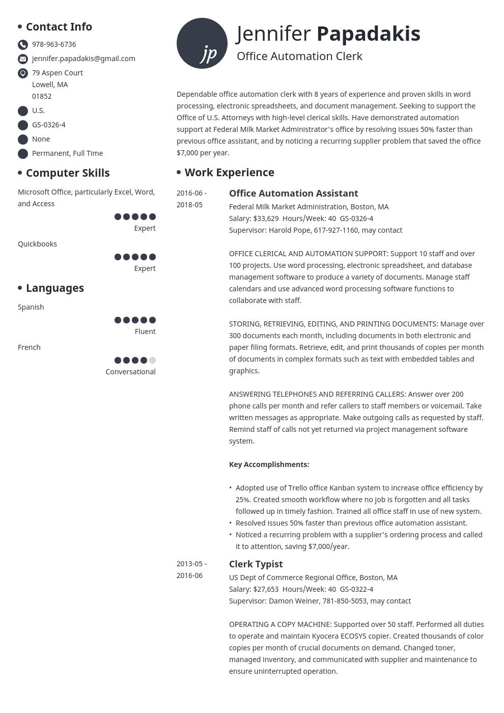 federal resume example template initials